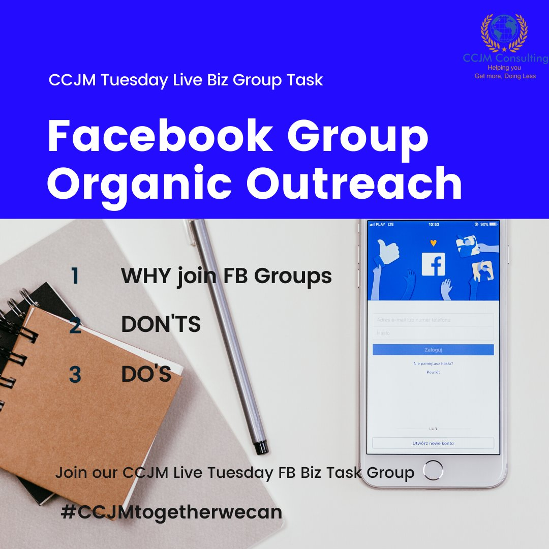 Learn in 30min all about Organic outreach with Facebook groups  1/Purpose 2/Do's & Don'ts. Tomorrow 2pm-2.30pm for our Live Biz Group Task.  Message us to join the Live!#bizstrategy #strategy #startupexpert #startups#smallbusiness #ccjmconsultingpic.twitter.com/Y0aGYJVm7a
