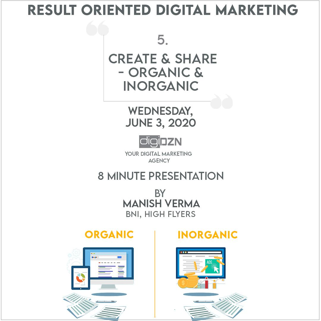 What is Organic and Inorganic?  8 Minute presentation by Manish Verma for result oriented Digital Marketing.  Wednesday, June 3, 2020  #growyourbusiness #growonline #onlinemarketing #onlinebusiness #businessawareness #growingbusiness #digitalmarketingagencypic.twitter.com/4xf5uBg9wF