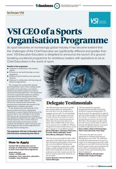 'Education is the most powerful lesson we can use to change the world' Nelson Mandela The 2020 VSI CEO of a Sports Organisation Programme 👉 Virtual Open Day 👉 June 11th 2020 👉 info@vsiee.com to arrange discovery call #CEO #Education @sarahtudor12 @_jamesmac @FCKev