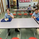 Year 6 are enjoying being back and eating with their friends today