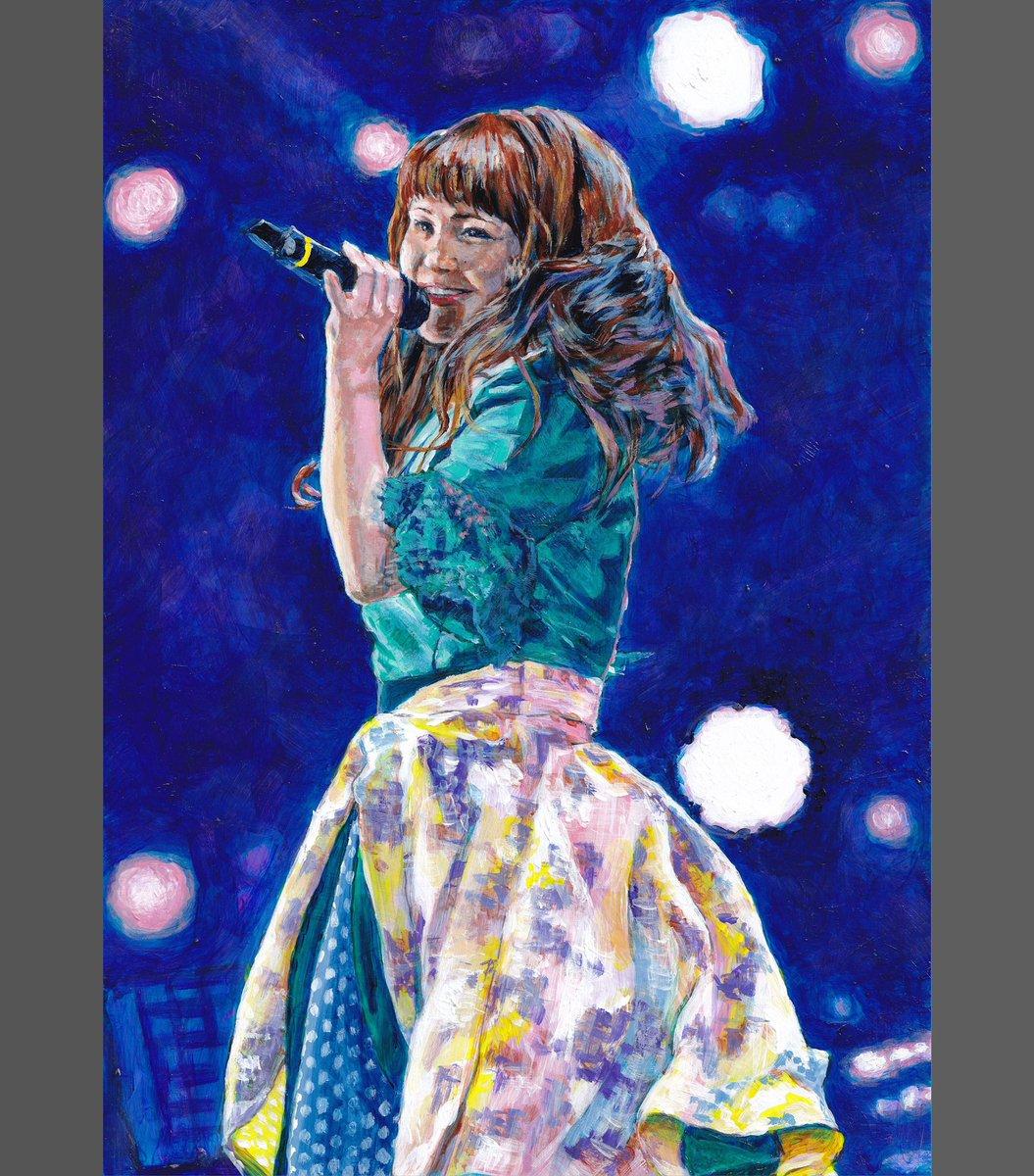 #Nao☆ 2018年7月21日 #朱鷺メッセ 画像プリントを下地にアクリル(A4版) アイドルらしいポージングを描く! 1.スキャン済み作品 2.元画像にホワイト下塗り 3.輪郭線描きおこし 4.ブルーの影に黄・ピンクを置く 複雑で大変( ꒪Д꒪)! #negicco #acrylicpainting #art #japaneseidol #niigatapic.twitter.com/lfIk8qgYwG