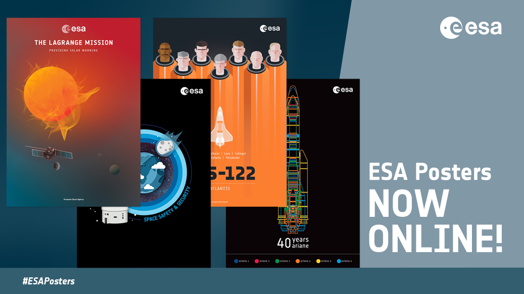 A selection of our eye-catching space posters is now available online in an A3 print-ready format. Choose your favourites here 👉 esa.int/About_Us/ESA_P… #ESAPosters #spaceposters #Ariane5 #Ariane40 #spaceweather #Heramission #cleanspace #Lagrange #Columbus10years