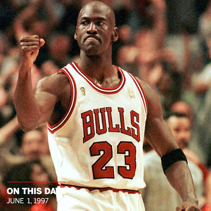 23 years ago today, MJ hit a game-winning shot over Bryon Russell in the 1997 finals, too 🐐 https://t.co/uIVEfwT4R1