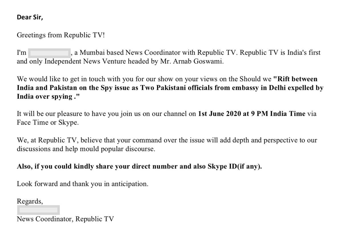 Republic TVs invitation for Arnab Goswamis show tonight, with the response.
