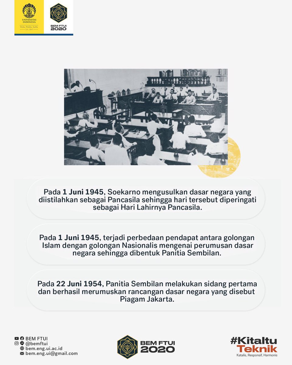 Bem Ft Ui 2021 Pa Twitter Pancasila Merupakan Pilar Dasar Negara Indonesia Yang Dijadikan Pedoman Dan Alat Pemersatu Bangsa Indonesia Pada 1 Juni 1945 Soekarno Mengusulkan Dasar Negara Yang Diistilahkan Sebagai Pancasila