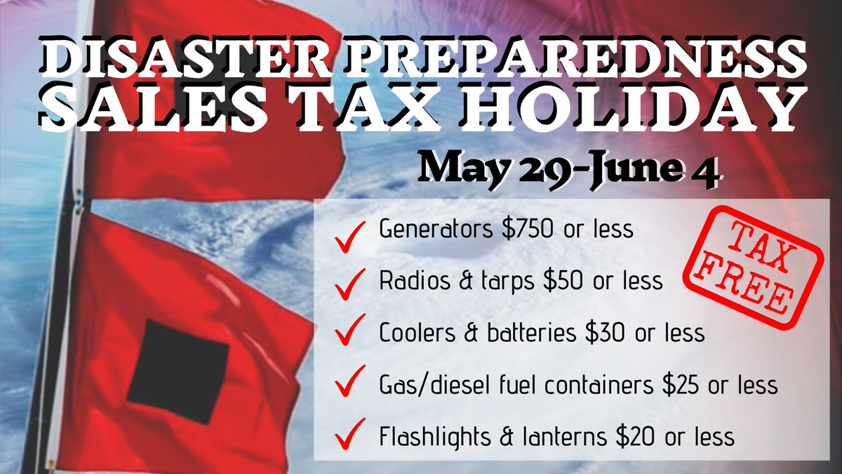 Today is the first day of Hurricane Season for the Atlantic. Remember that Florida's Disaster Preparedness Sales Tax Holiday is ongoing to help your family prepare this year. https://t.co/5tp5R2To8j