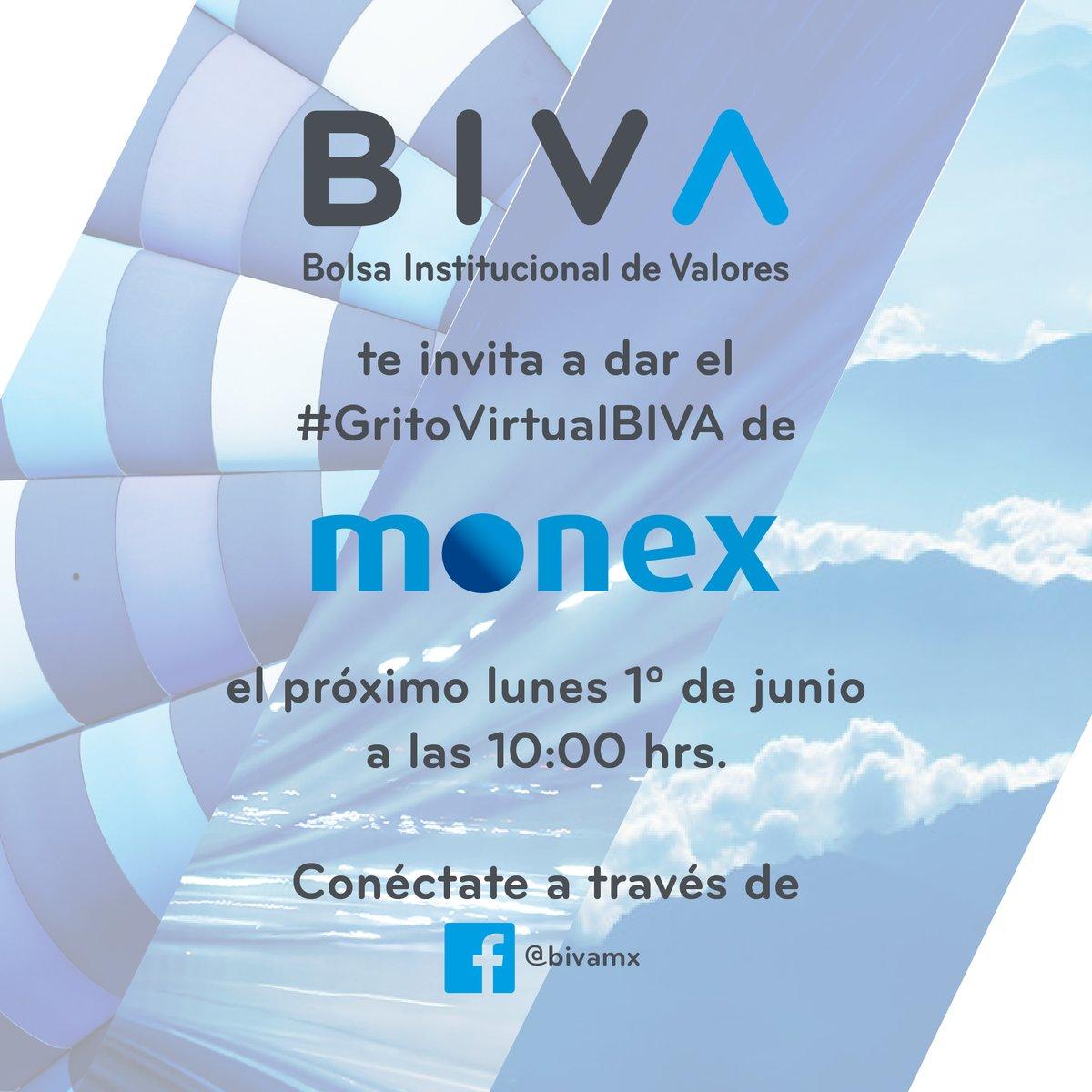 Recuerda que #hoy a las 10:00 am, @MonexAnalisis dará el #GritoVirtualBIVA. Conéctate a nuestro #FacebookLive y acompáñanos a gritar juntos ¡#BIVAMonex! ¡#BIVAMéxico! ¡#BIVAMonex! Sigue este enlace: facebook.com/bivamx/