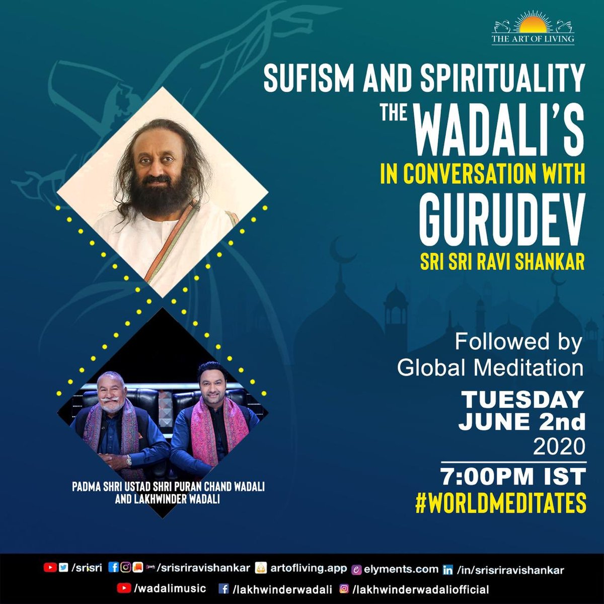 Hey.! Tomorrow 7pm Live conversation with Gurudev Sri Sri Ravi Shankar ji. @ArtofLiving @SriSri #Thewadalis #wadalibrothers #sufimusic https://t.co/6WEZP9Jwqd