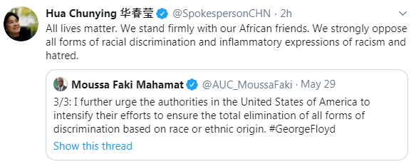 """The levels of irony of the Chinese Foreign Ministry spox tweeting """"All lives matter"""". Where to begin? https://t.co/mqy3LOrooR"""