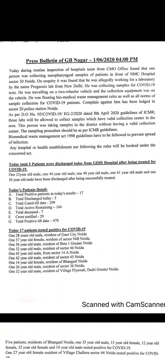 #Noida #coronaupdate 17 new cases reported today Total tally: 470 Complaint against a person allegedly working for Delhis Prognosis Lab who was found in Noida collecting samples outside sector 30 hospital. #coronavirus