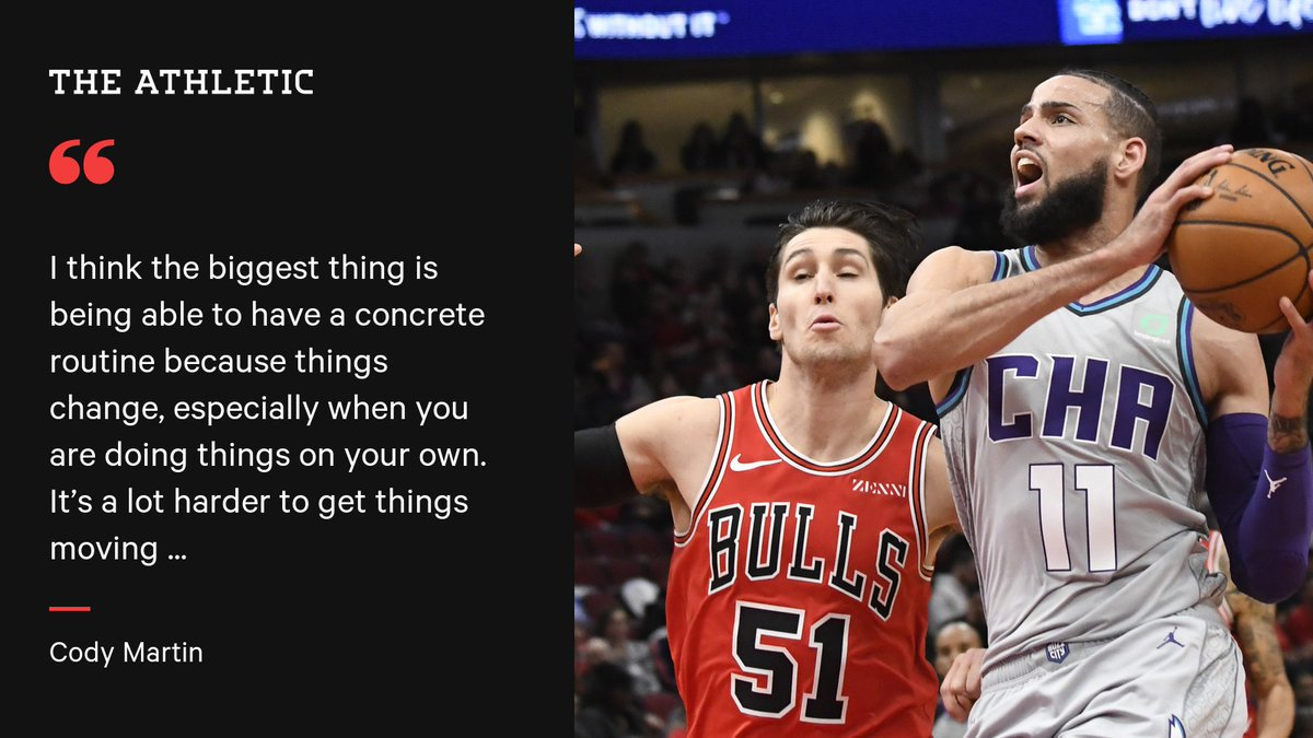 🚙 Arrive at practice facility 🌡️ Have temperature taken 🏀 Go to gym ☑️ Only 2 players on the court 😷 Staff: masks + gloves Hornets rookie @cody_martin15 explains what its like returning to the team facility (hes glad he can): From @rodboone: theathletic.com/1845151?source…