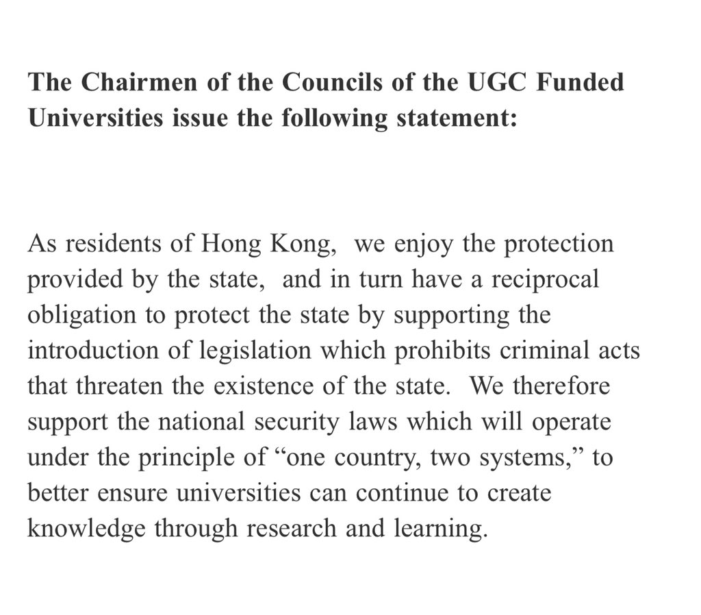 #LATEST Heads of the governing councils of 8 publicly-funded unis issued joint statement to back #NationalSecurityLaw, hours after presidents of 5 unis said they understood the need of the law https://t.co/H5ixvSRd60