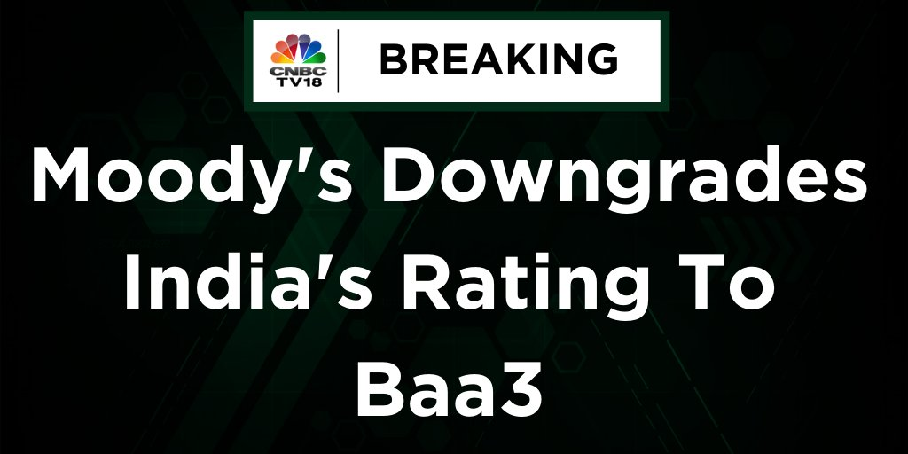 #BREAKING | Moody's downgrades India's rating to Baa3; outlook remains 'Negative' pic.twitter.com/I2dFCUTyB8