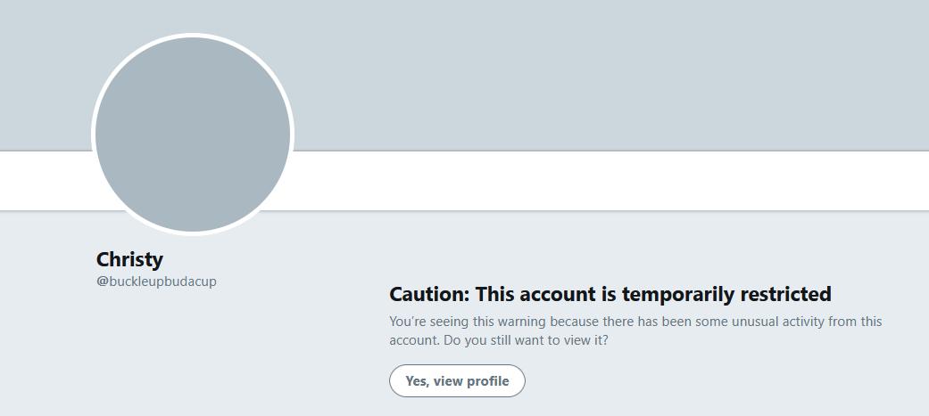 @buckleupbudacup #CAUTION: THIS ACCOUNT IS TEMPORARILY RESTRICTED  #NotSureIf @buckleupbudacup #CensorshipOnTwitter https://t.co/IJusn1KTWa