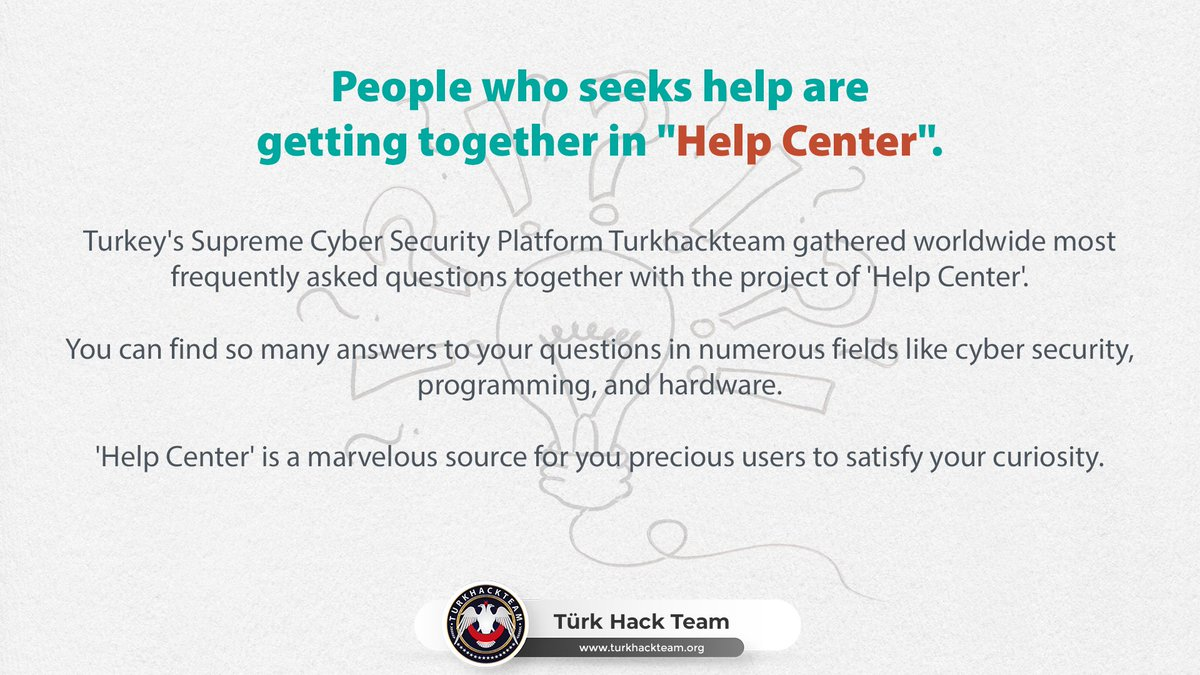 "People Who Seeks Help Getting Together in ""Help Center"" !   https://www.turkhackteam.org/help-center/   #TurkHackTeam #HelpCenter #CyberSecurity #Programming #Coding #Software #Hardware #USAonFire #dcblackout #DCsafe #June1stpic.twitter.com/wEALGqP14c"