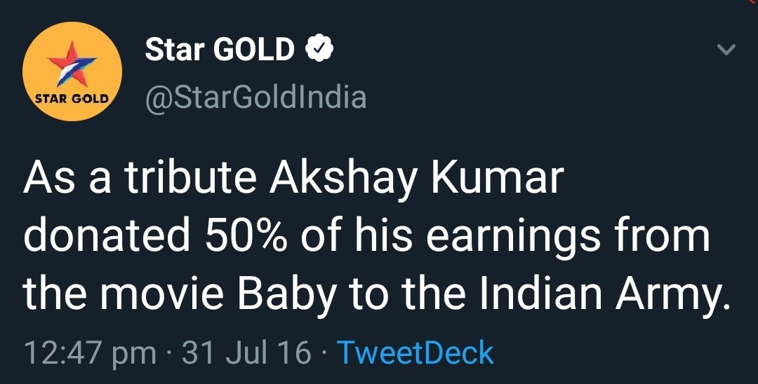#AkshayKumar starrer #Baby was released in 2015. This Spy - Thriller is one of the finest masterclass ever made in Bollywood. He took a remuneration of 45 crores for the movie and donated half of it ( 22.5 crores ) to the Indian Army. @akshaykumar    #100DaysToAKSHAYsBdaypic.twitter.com/GgKcCkXR0U