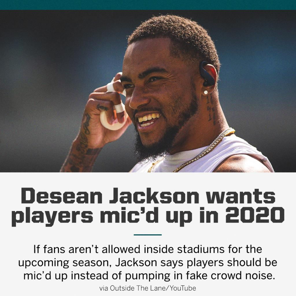 "DeSean Jackson says he wants fans to ""really see what goes on between the white lines."" 🎙️ @DeSeanJackson10 https://t.co/fpiuUboXsd"