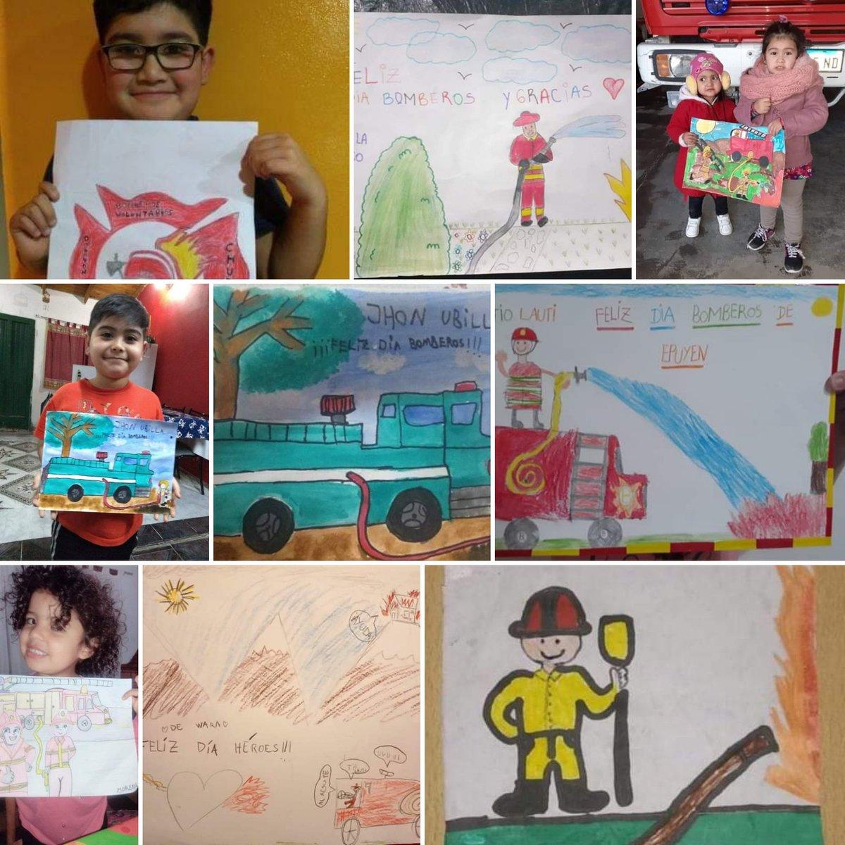 Mañana es el Día Nacional de los Bomberos Voluntarios. En los cuarteles de bomberos de #Epuyén #Dolavon y #RíoPico organizaron concursos de dibujos para los niños y han tenido una excelente respuesta. Acá 👇 algunos d los trabajos.  @grupochubut @lili_saez @fmElChubut901 https://t.co/oH2CnUJkG4