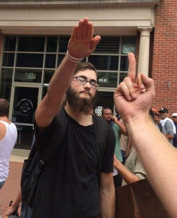 When the Nazi saluting starts the getting punched out starts 😂