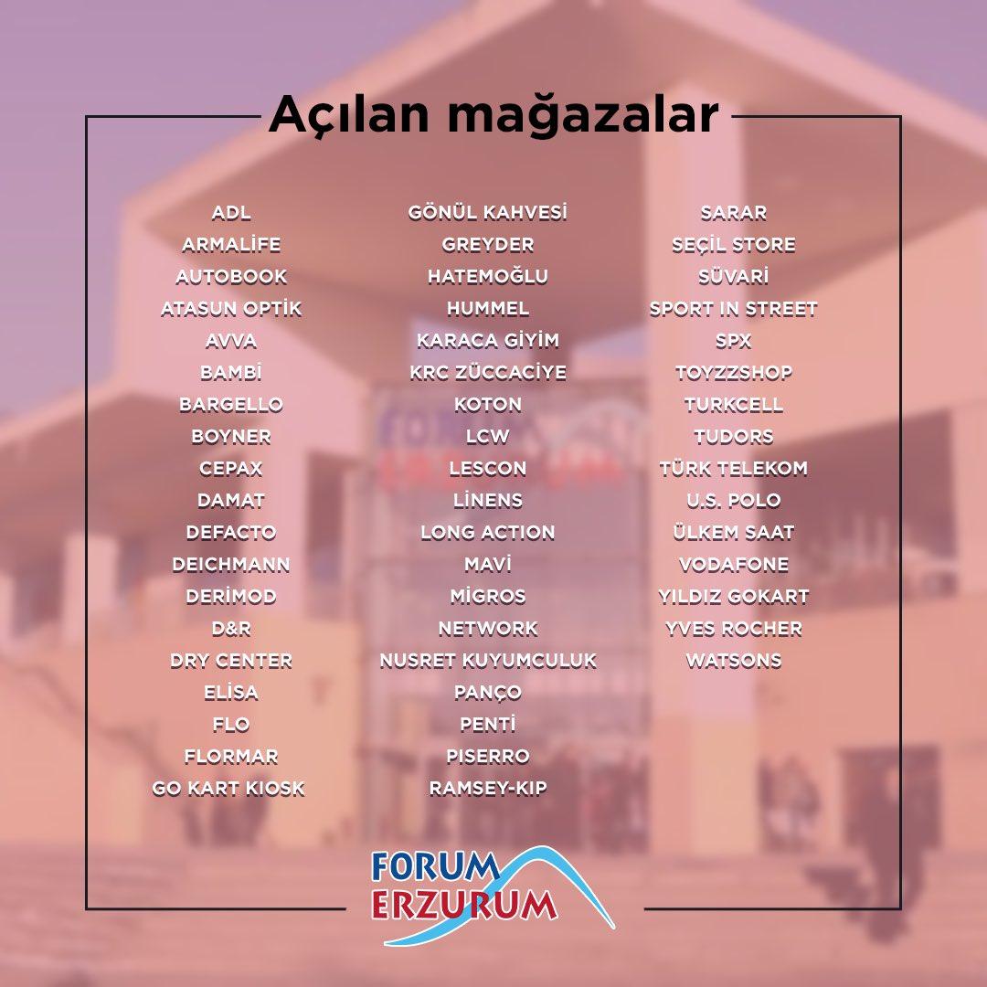 Bu hafta hizmete başlayan mağazalarımız ile Forum Erzurum'da buluşuyoruz! Mağazalarımızın saatleri kendi özelinde değişkenlik gösterip, AVM içerisindeki gelişmelerimizi story paylaşımlarımızdan takip edebilirsiniz. 🙏🏻 https://t.co/BhK30cPFiN