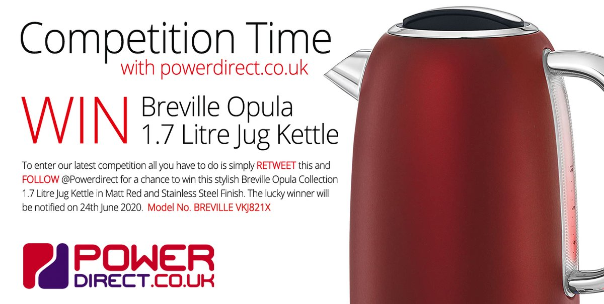 #Free to Enter @PowerDirectUK #Competition #Giveaway... Simply #RT and #Follow for a chance to #Win a Breville Opula 1.7 Litre Jug Kettle. #MondayMotivationpic.twitter.com/QLrHrWWiig