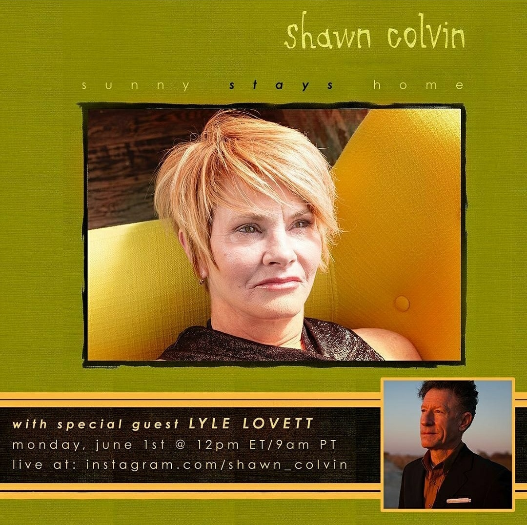 Tune in today at 11 am CST for more music and conversation with Lyle Lovett, this time hosted by Grammy Award-winning singer & songwriter Shawn Colvin through her @instagram page!  #SunnyStaysHome #livestream #digital #concert #interview #plps @LyleLovett