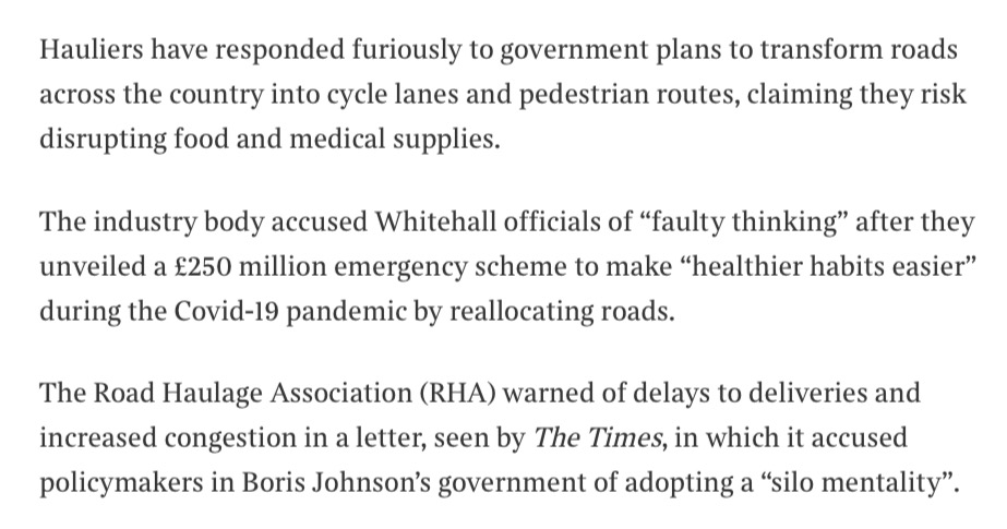 The Road Haulage Association dont seem to understand that the purpose of pop-up cycle lanes is to *prevent* congestion, by allowing millions of public transport users who would otherwise switch to private cars to cycle instead. Desperately short-sighted
