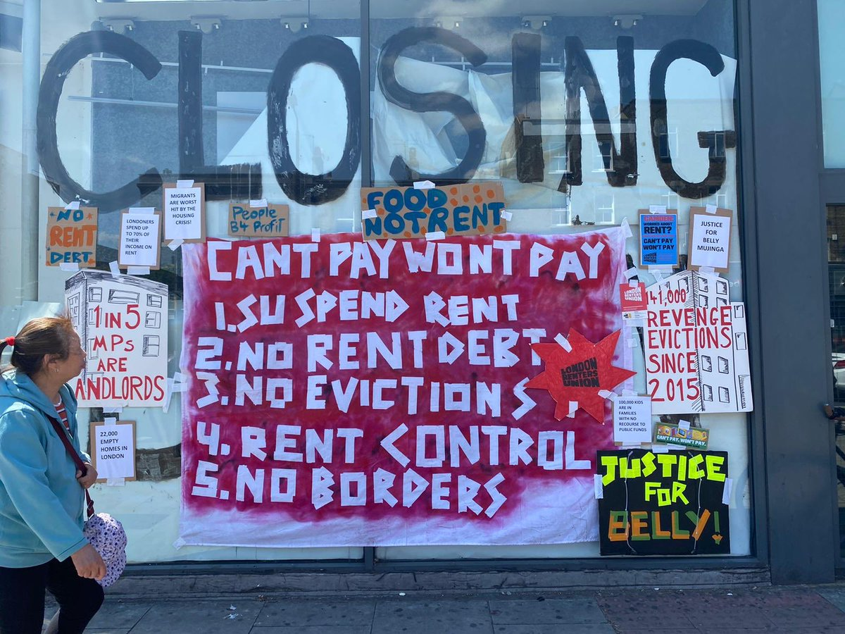 Today renters from across London made our voices heard. 📣📣📣We're demanding an end to evictions, cancellation of rent debt & benefits available to *all* who need them. 👉🏽Join us: cantpaywontpay.uk