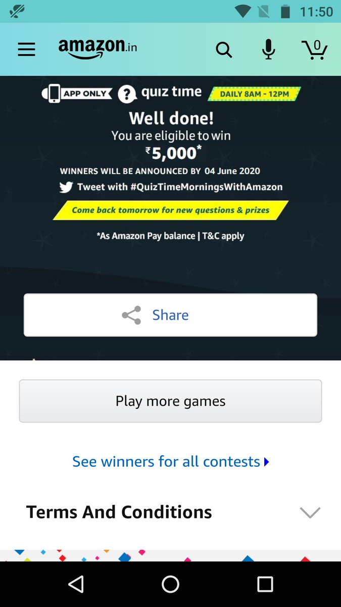 Rs. 5,000* Amazon Pay #QuizTimeMorningsWithAmazon pic.twitter.com/9OaAaaClmT