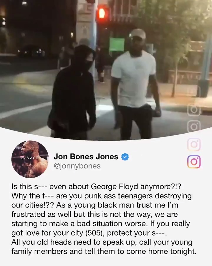 "Jon Jones confronted two teenagers and confiscated their spray cans in a video posted to Instagram.  His accompanying message expressed frustration, but urged that vandalism is ""not the way."" (via @JonnyBones) https://t.co/q9wZGMMPn6"