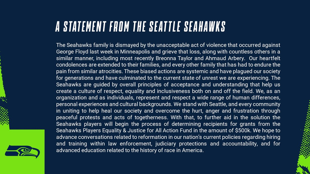 A statement from the Seahawks » shwks.com/a278l
