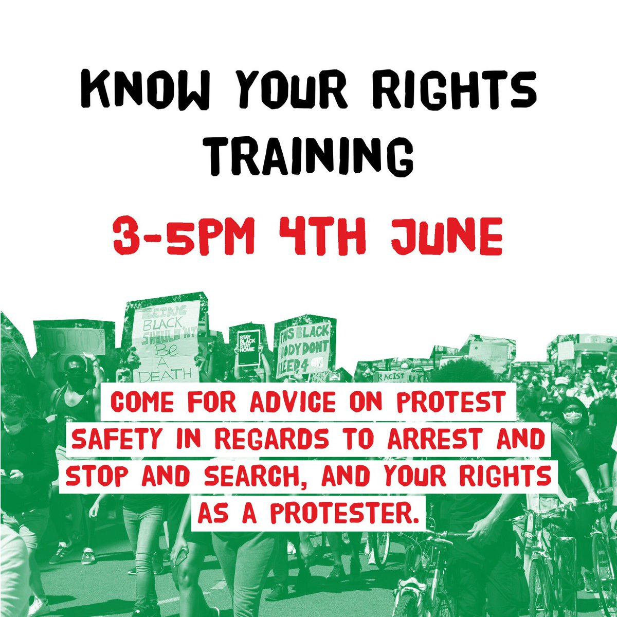 If you are joining the protests or thinking of doing so, come to this training. DM FOR THE ZOOM LINK... This training covers: - what your rights are at a protest - how to deal with the police - what happens if you are stopped and searched - what happens if you get arrested 💯❤️