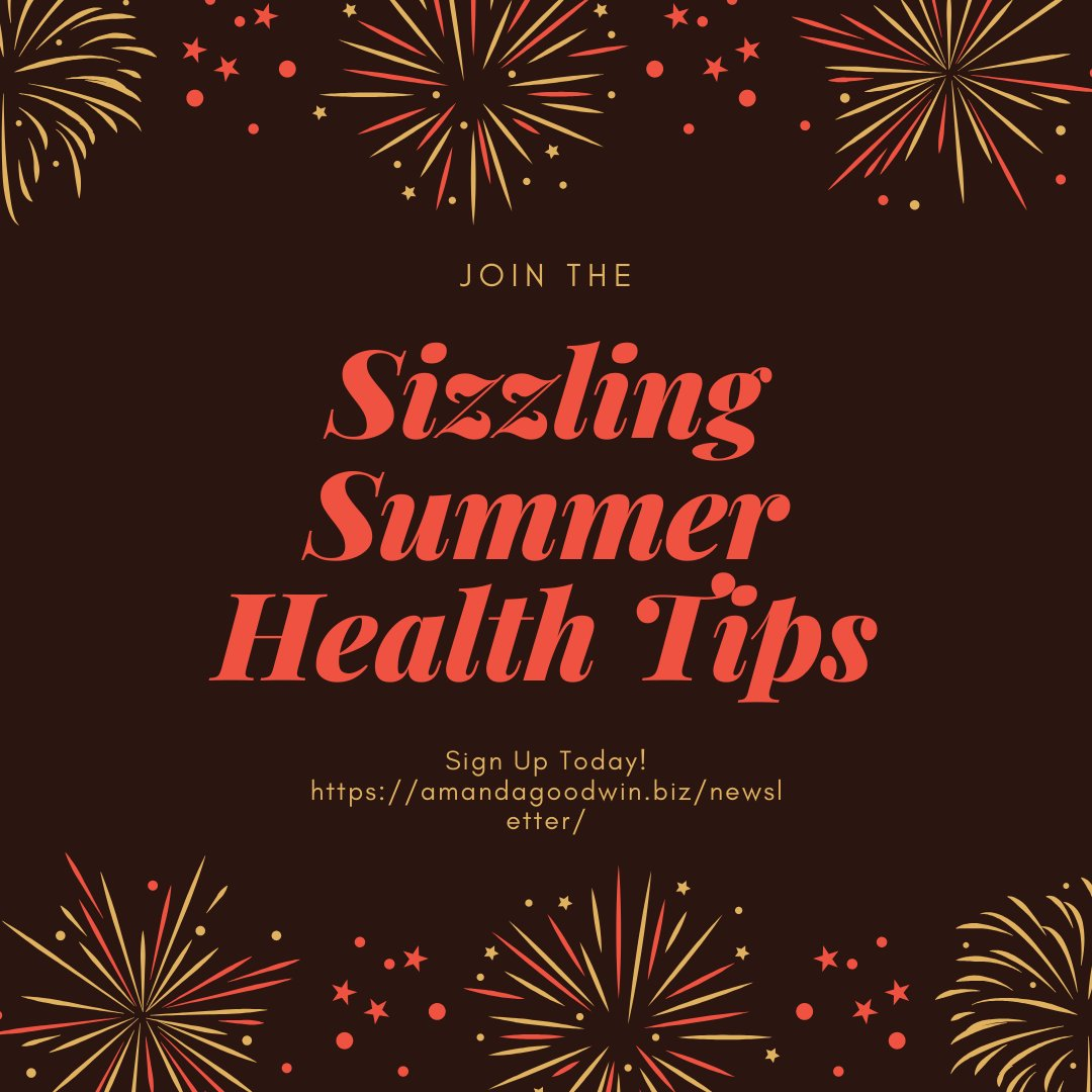 """Did you miss last year's """"Sizzling #Summer #HealthChallenge'? No worries, you can sign up for Monday's #newsletter & receive ALL 10 tips!   This #SizzlingSummer #Health Tips will cover: #Nutrition #Exercise #Skin & #HairCare  #Travel & #SelfCare #SunSmart!"""