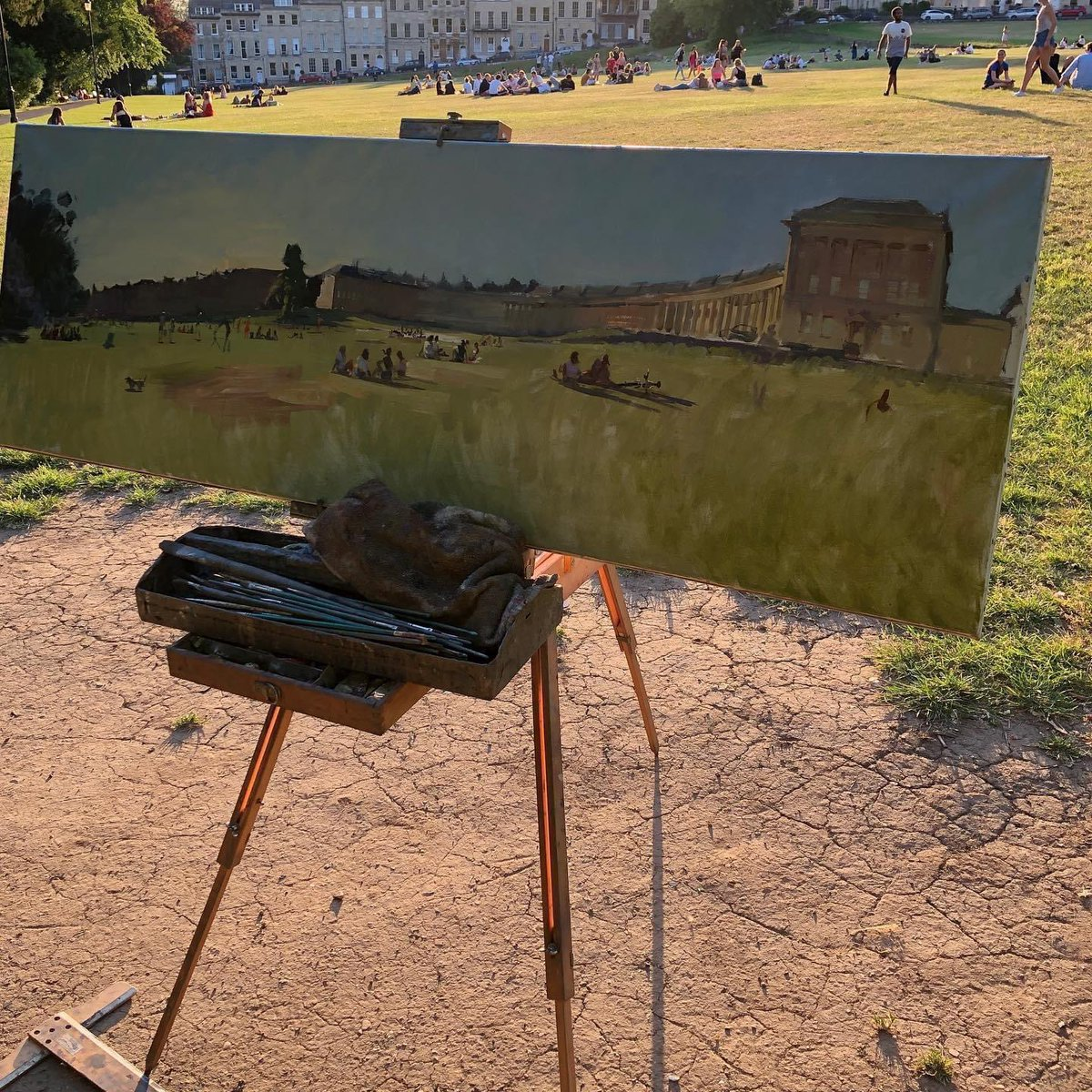 The #dissolution of #lockdown the #royalcrescent #royalcrescentbath  #DominicCummings effect... sitting one.  #pleinair #art 20 x 60 inches oil on canvas pic.twitter.com/yhsTbqdIa1