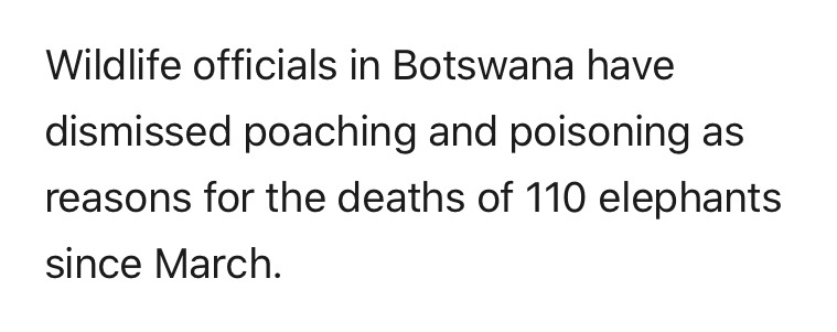 Poaching ruled out as 110 elephants found dead in Botswana.  https://www.dailymail.co.uk/news/article-8376783/Mystery-110-elephants-dead-Botswana-poaching-dismissed.html?ito=social-twitter_mailonline…pic.twitter.com/fODAyUfU20