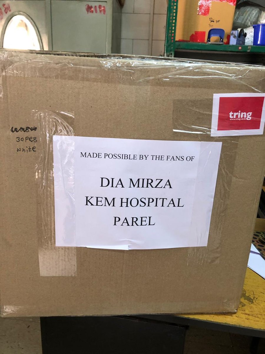 A BIG thank you to all you generous and kind people ❤️😊🙏🏽 Over 500 PPE kits ready for dispatch for our #CovidWarriors at KEM Hospital Mumbai. If you'd like to contribute to keep our medicos safe, pls go to this link tring.co.in/Dia-Mirza #UnitedForHumanity