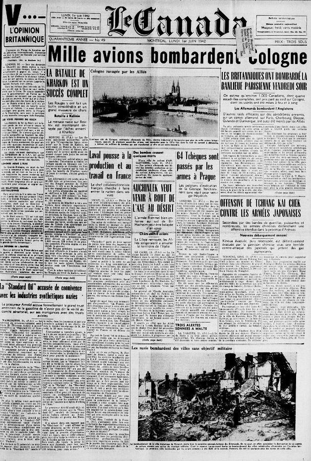 La Une du journal Le Canada, 1er juin 1942 https://t.co/3goPq0kK6W