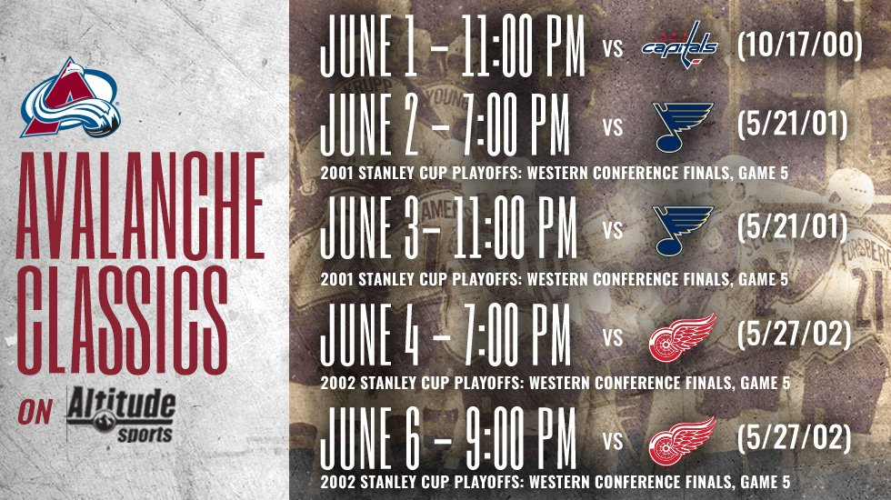 Make sure to catch these classics this week!  #GoAvsGo https://t.co/CSRk85x47w