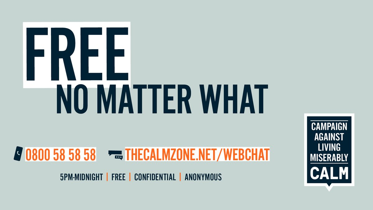 If you're finding things tough, @theCALMzones helpline is open from 5pm until midnight. Call them on 0800 58 58 58, or chat to their trained helpline staff online. No matter who you are or what youre going through, its free, anonymous & confidential. buff.ly/2Vqp8D1