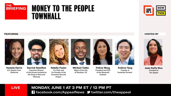 Or Catch the #MoneytothePeople Townhall today featuring @DarrickHamilton @FeliciaWongRI @KamalaHarris  at 3pm (EST). The panel will be streamed lived on @theappeal Facebook & Twitter!