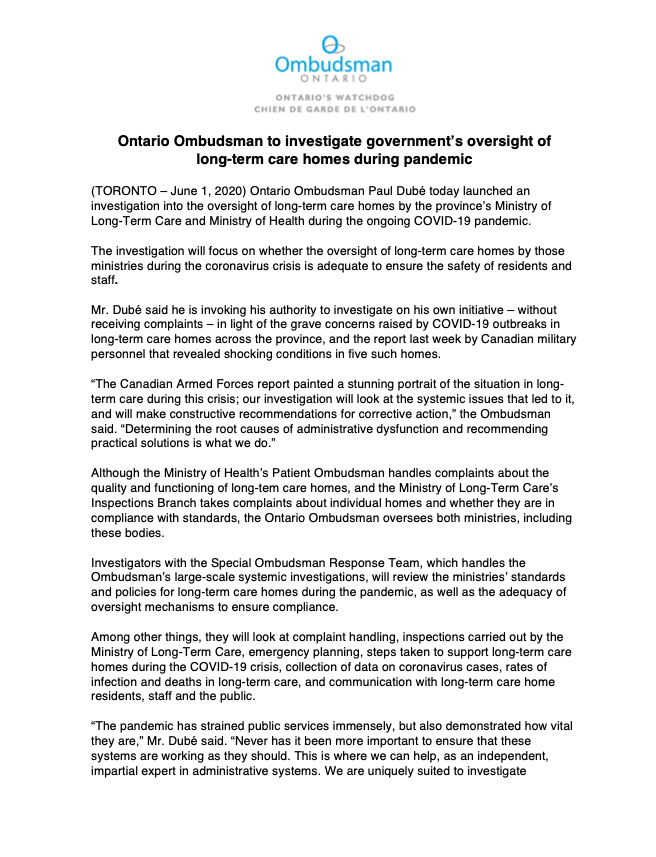 #BREAKING: @Ont_Ombudsman has launched an investigation into the @fordnation government's oversight of long-term care homes during #COVID19 pandemic. #ONPoli https://t.co/H7avHpPjO4