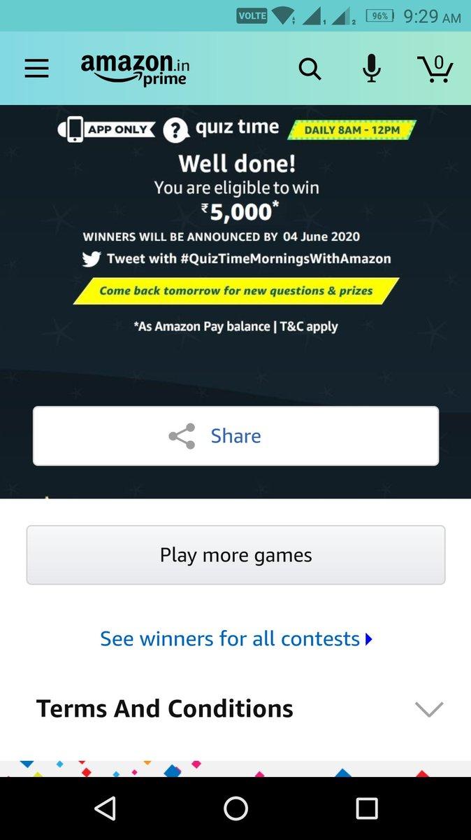 ₹5000 gazab @amazonIN  #QuizTimeMorningsWithAmazon 1 June 2020 happy ganga dueshra pic.twitter.com/HMbWHSSqXg