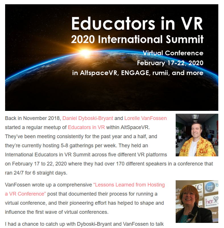Check out the interview with @kentbye of Voices in VR with Educators in VR founders @danieldbryant & @lorelleonwp on history of the company, producing classes, workshops, and virtual conferences in #VirtualReality, & where this is all going? https://bit.ly/3crL8n7pic.twitter.com/r4n2QFcICP