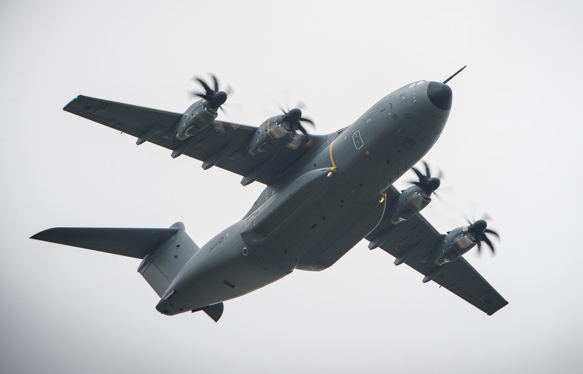 This evening our A400M aircraft will be operating in the vicinity of Isle of Man, Belfast and Prestwick, whilst engaged in essential training.  These are necessary, routine, flights and not connected with RAF support to the UK's fight against Coronavirus.  #A400M #Atlas https://t.co/9OxE4HD2El