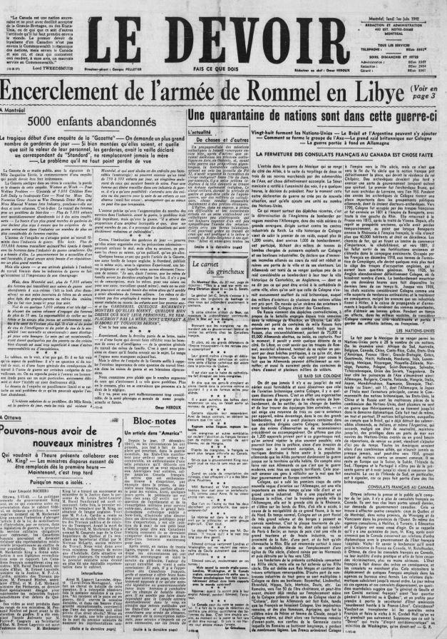 La Une du journal Le Devoir, 1er juin 1942 https://t.co/nlCBPAd4T0