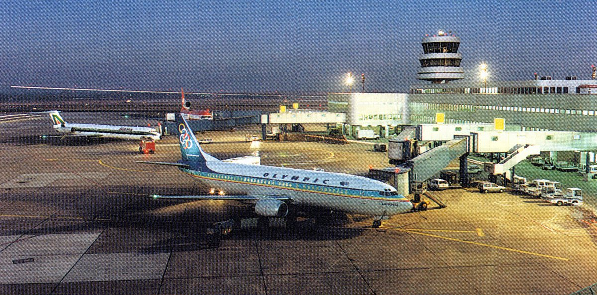 Three aircraft in one photo from the early 1990s in #DUS Düsseldorf: 'OlympicAirways #Boeing737-400, #Alitalia #MD82, and a #LTU #L1011 #TriStar: https://t.co/jYXX3BAj4N