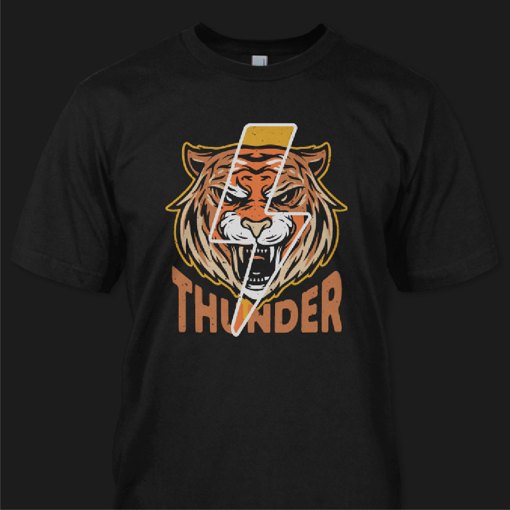 Tiger Thunder Design is available for sale  #designforsale #vector #illustration #tees #tshirt #apparel #clothing #tiger #merchandise #band #bikerpic.twitter.com/Ewdd2WJPx9