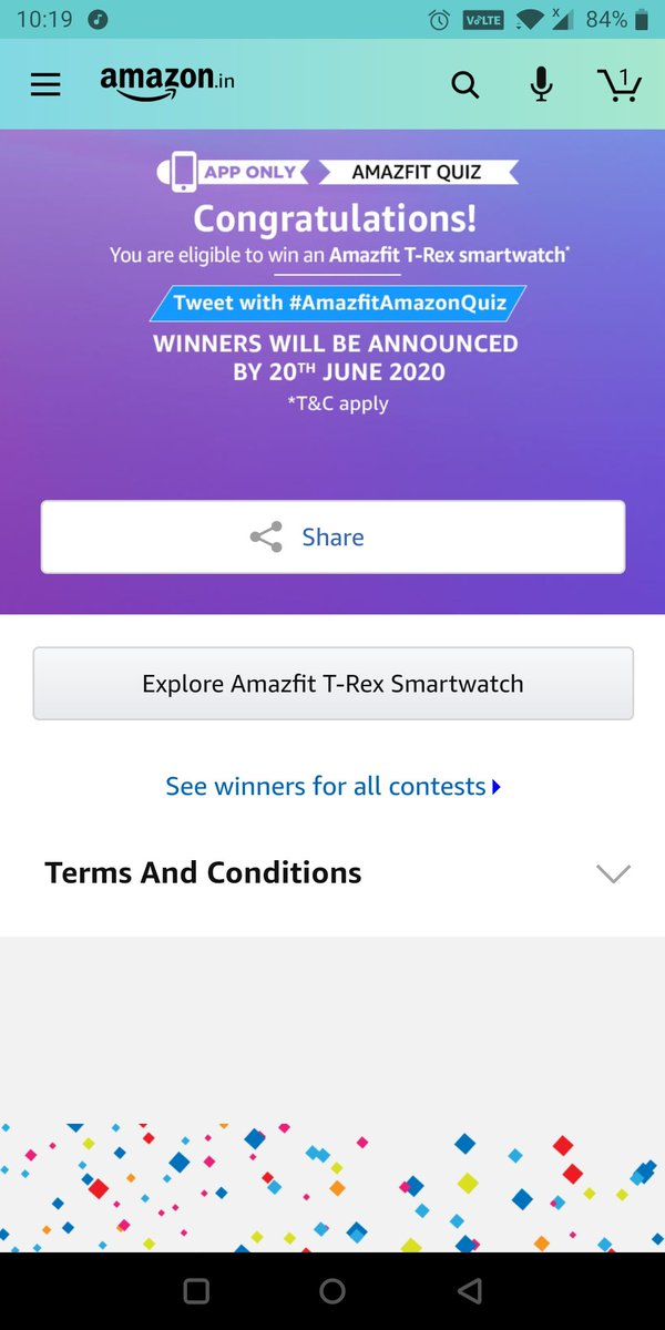 I played this interesting quiz on Amazon - Try your luck for a chance to win exciting rewards  https://www.amazon.in/game/share/g4Z8YRP… #quiztimemoringswithamazon  #quiztimemorningswithamazon  #quiztimemorningwithamazon  #QuizTime  @amazonINpic.twitter.com/95KWuc8M3a