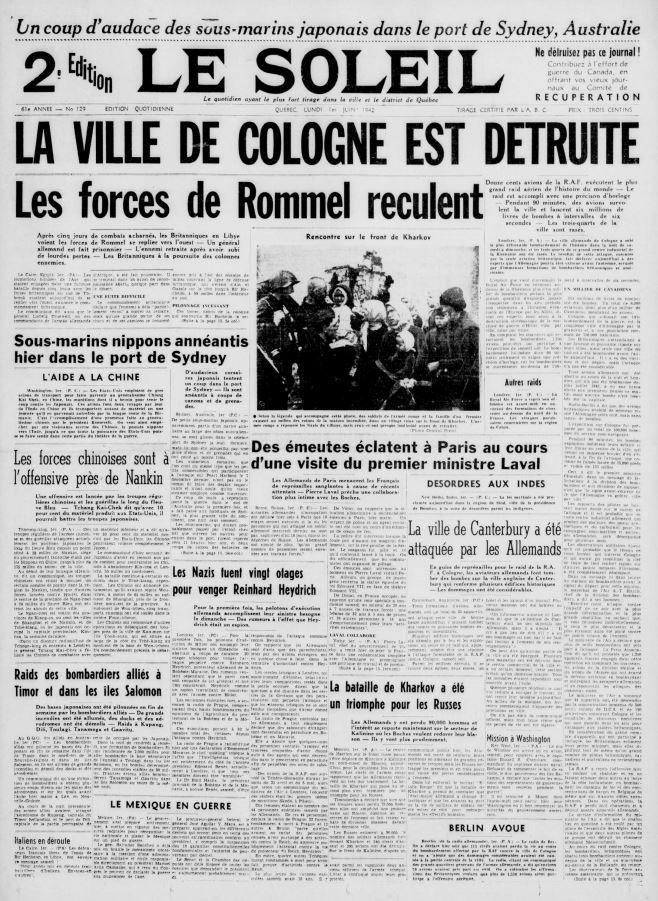 La Une du journal Le Soleil, 1er juin 1942 https://t.co/ga341RDifd