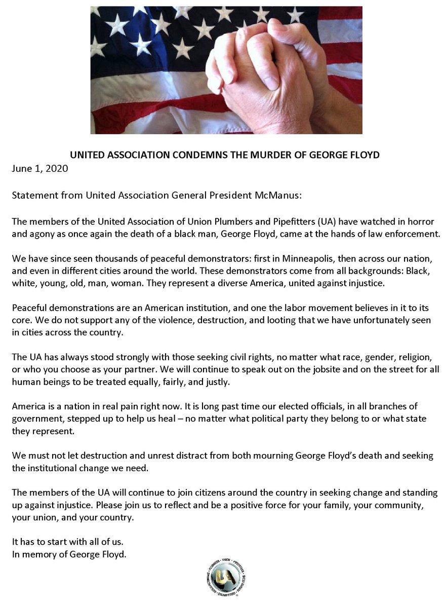 Please see General President McManuss statement below.#GeorgeFloyd